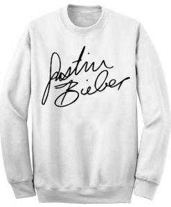 Unisex Crewneck Sweatshirts Justin Bieber Signature Design