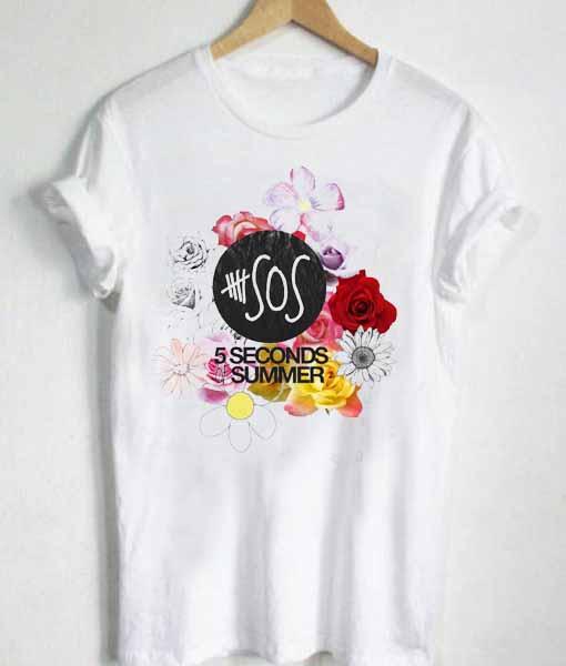 Unisex Premium 5sos Logo Flower Tshirt T-shirt