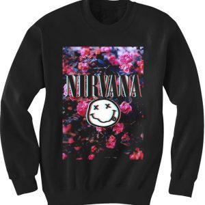 unisex crewneck nirvana logo sweatshirts flower