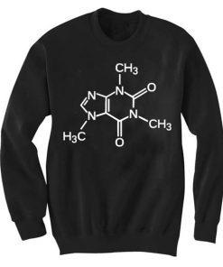 Unisex Crewneck Caffein Molecule Sweatshirts Sweater