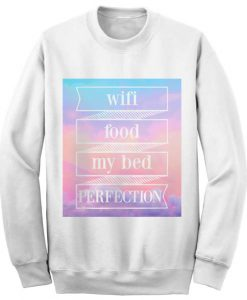 Unisex Crewneck Wifi Food My Bed Sweatshirts Sweater