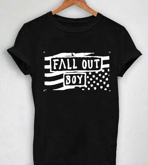 Unisex Premium Fall Out Boy T shirt Us Flag Design Clothfusion