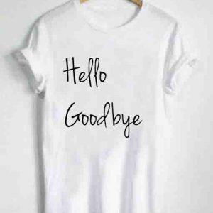 Unisex Premium Hello Goodbye Logo White T shirt Design Clothfusion