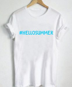 Unisex Premium Hello Summer White T shirt Design Clothfusion