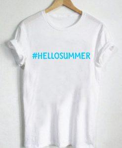 Unisex Premium Hello Summer White T shirt Design Clothfusion