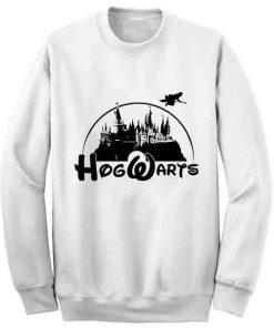 Unisex Crewneck Sweatshirt Hogwarts Logo Disney White Design Clothfusion