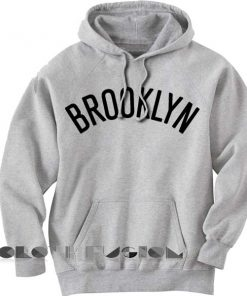 Brooklyn Logo Grey Adult Fashion Hoodie Apparel Clothfusion