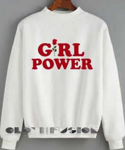 Unisex Crewneck Sweatshirt Girl Power Logo White Design Clothfusion
