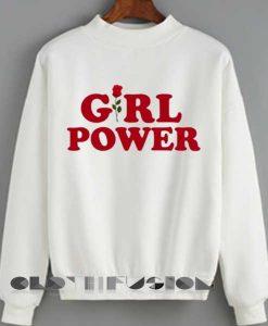 Unisex Crewneck Sweatshirt Girl Power Logo White Design Clothfusion