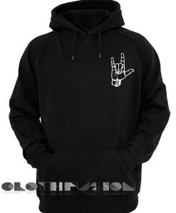 Metal Hand Black Adult Fashion Hoodie Apparel Clothfusion