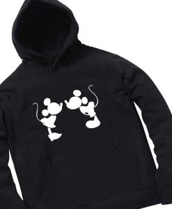 Mickey And Minnie Mouse Kiss Black Adult Fashion Hoodie Apparel Clothfusion