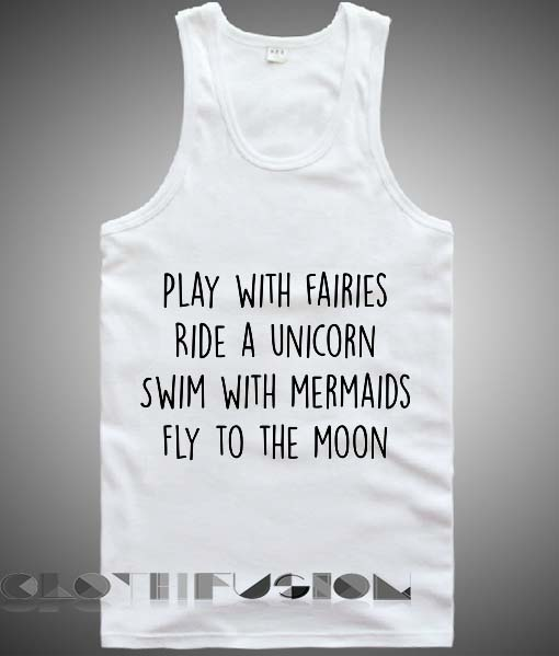 d760e869cb539 Unisex Men Women Play With Fairies Ride A Unicorn Tanktop Tank Top