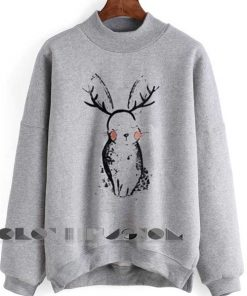 Unisex Crewneck Sweatshirt Rabbit Grey Logo Design Clothfusion