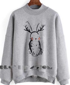 Unisex Crewneck Sweatshirt Rabbit Grey Logo Design Clothfusion