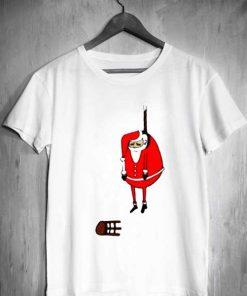 Unisex Premium Santa Claus Hanging Christmas T shirt Design Clothfusion