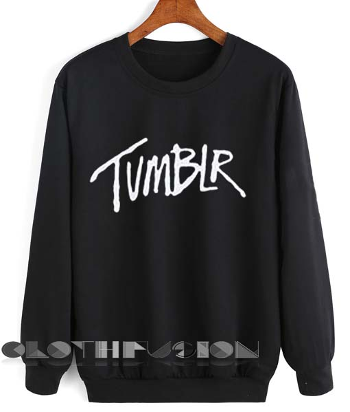 Crewneck Sweatshirt Tumblr Logo Black Design Clothfusion