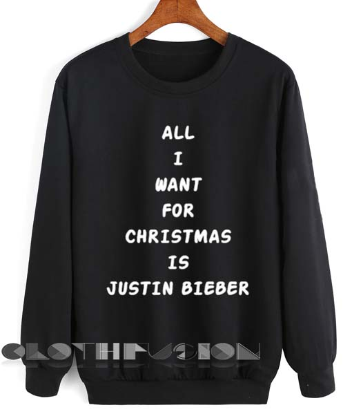 657485d7ad57 Unisex Crewneck All I Want For Christmas Is Justin Bieber Sweater Design