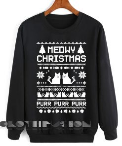 Unisex Crewneck Sweatshirt Meowy Christmas Sweater Design Clothfusion