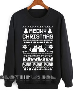 Unisex Crewneck Sweatshirt Meowy Christmas Sweater Design Clothfusion