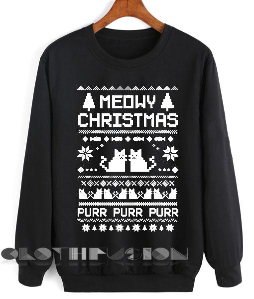 439aa765 Unisex Crewneck Sweatshirt Meowy Christmas Sweater Design Clothfusion