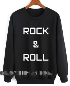 Unisex Crewneck Rock And Roll Pixel Sweater Logo Design Clothfusion