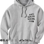 Anti Social Social Club Hoodie Grey Unisex Premium Clothing Design