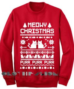 Unisex Crewneck Meowy Christmas Sweater Red Design Clothfusion