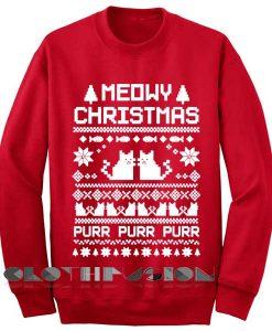 Unisex Crewneck Meowy Christmas Sweater Red Design Clothfusion