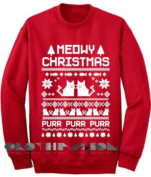Meowy Christmas Sweater.Unisex Crewneck Meowy Christmas Sweater Red Design Clothfusion