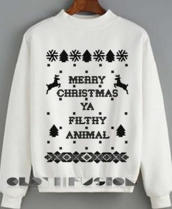 Christmas Sweater Merry Christmas Ya Filthy Animal Unisex Sweatshirt