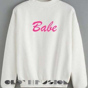 Quote Shirts Babe Logo White Unisex Premium Sweater Clothfusion