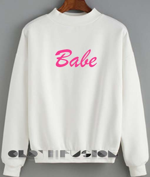 Quote Shirts Babe Logo White Unisex Premium Sweater Clothfusion