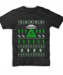 Alien Reindeer Abduction Ugly Christmas T Shirt