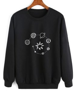 Solar System Chalk Art Sweater Funny Sweatshirt
