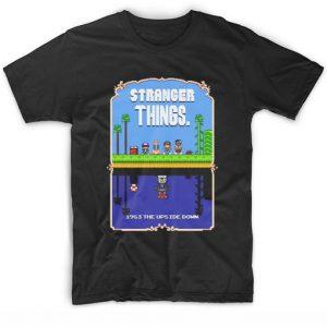 Stranger Things Mario Bros Pixel Art Mashup T-Shirt
