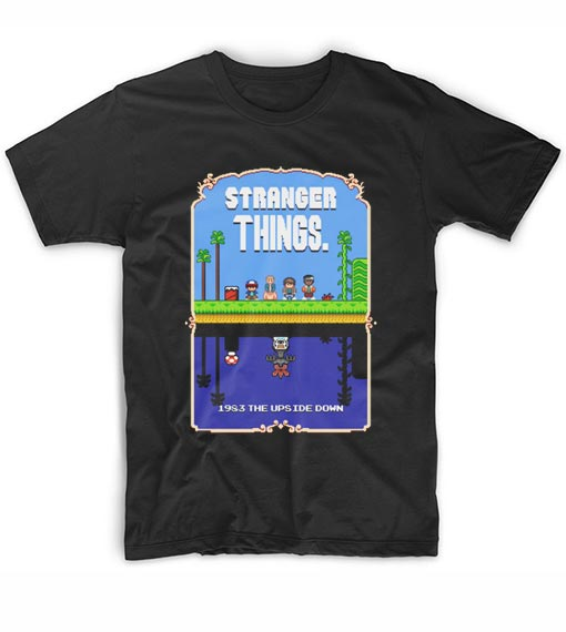 75c1d97e2 Stranger Things Mario Bros Pixel Art Mashup T-Shirt Custom T Shirts ...