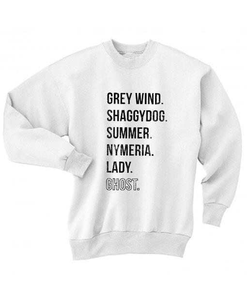 Direwolves Names Sweater
