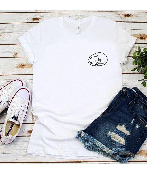 Cute Sleeping Cat Pocket T-Shirt