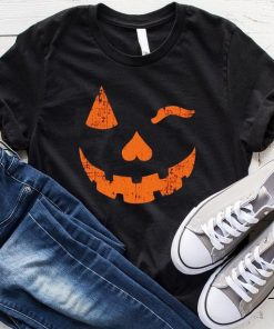 Pumpkin Face Winking Graphic Tee Halloween T-Shirt