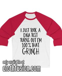 100% That Grinch Cut Files for Christmas Unisex 3/4 Sleeve Baseball Tee