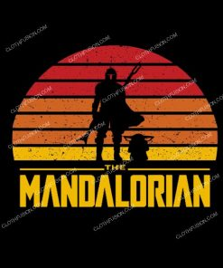 Star Wars The Mandalorian Sunset Logo Funny T-Shirt