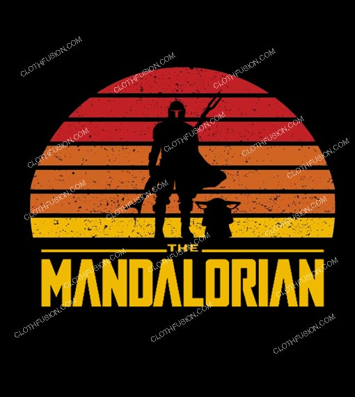 Star Wars The Mandalorian Sunset Logo Funny T-Shirt