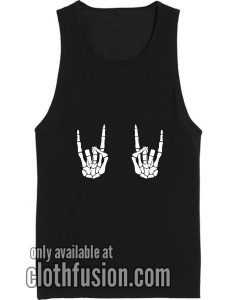 Rock On Skeleton Hands Workout Tank Top Funny Tank top